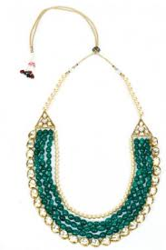 necklace with green stone images Necklace green stone pearl kundan necklace online shopping jpg