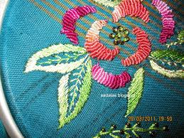 Fish Bone Stitch Embroidery Tutorials Sadala S Embroidery Bullion Work Saree