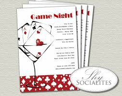 red martini cards game night invitation poker night games