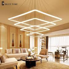 Living Room Pendant Lighting 40 60 80cm Square Rings Led Pendant Lights For Living Room Dining