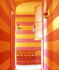 paint colour combos orange stripes and pink