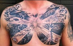 crazy chest tattoo with tree for men tattoos for men