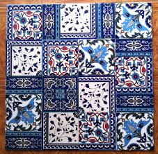 Moroccan Tile Rug Vintage 80 U0027s Ceramic Tiles Patchwork Middle Eastern Art