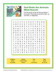 god made the animals word search children u0027s bible activities