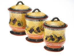 ceramic canisters sets for the kitchen certified international olives 3 canister