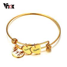 stainless steel bangle charm bracelet images Vnox name engraving charms bracelet bangle for women gold color jpg