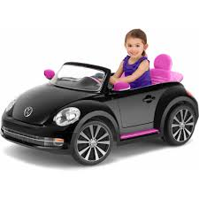 pink glitter car kid trax vw beetle convertible 12 volt battery powered ride on