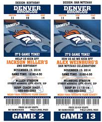 printable birthday party invitation card denver broncos