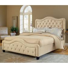 White Tufted Headboard And Footboard Bedroom Beige Leather Padded Bed Frame Affordable Upholstered Beds