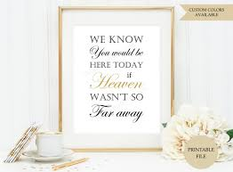 Wedding Memorial We Know You Would Be Here Today Sign Printable File If Heaven