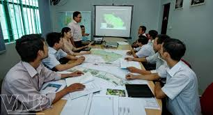 stock photo company hanoi makes commune planning in new countryside construction
