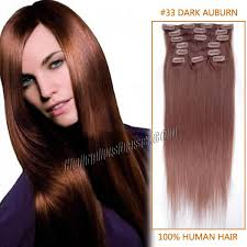 18 inch hair extensions inch 33 auburn clip in human hair extensions 8pcs