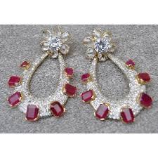 diamond earrings ruby studded american diamonds earrings