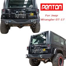 jeep rear bumper textured rear bumper w 2 led light d ring hitch receiver 07 17