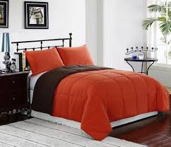 reversible down alternative comforter set orange brown