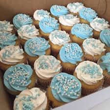 blue and white baby shower cupcake all things cake