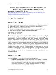 solution manual for advertising and imc principles and practice