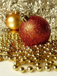 red u0026 gold christmas tree balls surrounded by tinsel and