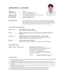Resume Sample Format For Job Application Philippines by Resume Sample For Uae Job Augustais