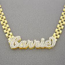name plates jewelry 10k solid gold 3d plates iced pave name 6mm band necklace