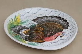 painted platter italian pottery turkey platter painted ceramic marked italy
