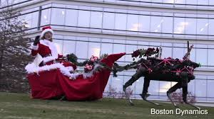 boston dynamics christmas video 3 robot reindeer pulling ms