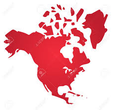 North America Continent Map by Map Of The North American Continent Usa Canada Mexico Stock Photo