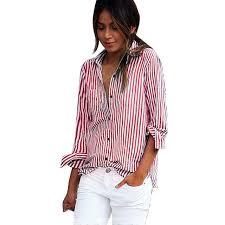 blouse button 2017 autumn casual blouses vertical stripe blouse office