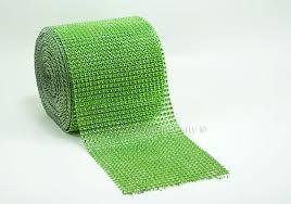 bling ribbon apple green diamond bling mesh rhinestone ribbon roll 4 7