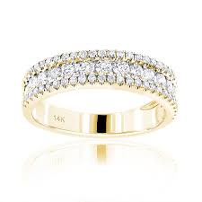 diamond wedding bands for women 14k gold 1 carat diamond wedding band for women by luxurman