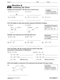 Algebra Worksheets And Answers Holt Algebra 1 Lesson 1 7 Practice A Idea Worksheet