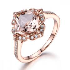 morganite art deco ring halo cushion engagement ring in 14k rose