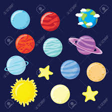 set of planets sun and moon vector illustration royalty
