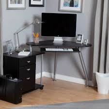 L Shaped Black Glass Desk Furniture Enchanting Black Glass Top L Shaped Computer Desk With
