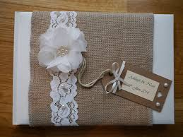 d co vintage mariage personalised wedding guest book vintage shabby chic hessian