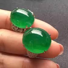 gorgeous luxury full green jadeite diamond cocktail ring