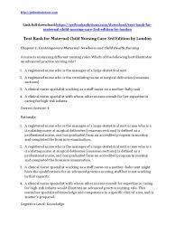 Responsibilities Of A Neonatal Nurse Download Maternal Child Nursing Care 3rd Edition By London Test Bank
