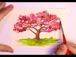 how to paint a tree watercolor painting cherry blossom trees