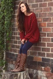 cute fall with burgundy sweater fashion women fashion