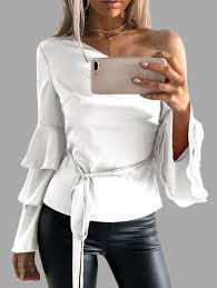 white bell sleeve blouse white one shoulder ruffle bell sleeves blouse with belt us 21 95
