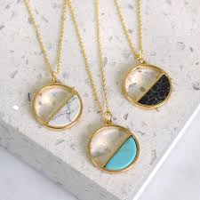 marble necklace geo semi circle marble necklace by notonthehighstreet