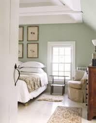 bedrooms sage green wall color with white bed for calming