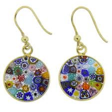 dangle earing murano earrings millefiori murano dangle earrings gold