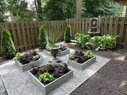 backyard with low maintenance plants and low deck easy low