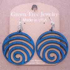 green tree earrings waves green tree jewelry royal blue laser cut wood earrings usa