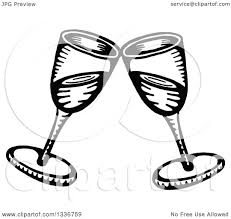champagne clipart clipart of a sketched doodle of black and white clinking champagne