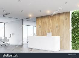 corner white reception desk two laptops stock illustration