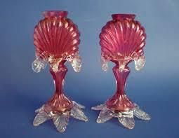 Victorian Glass Vase Unusual Pair Of Antique Victorian Cranberry Glass Vases C1880 Sold