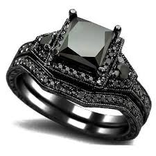 black wedding band sets size 5 11 black princess cut wedding engagement ring band