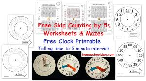 Count By 5 Worksheets Printable Free Free Clock Printable Free Skip Counting By 5s Activities